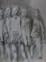 Brigitte-Heck-Humor-Menschen-Gruppe-Gegenwartskunst-Gegenwartskunst