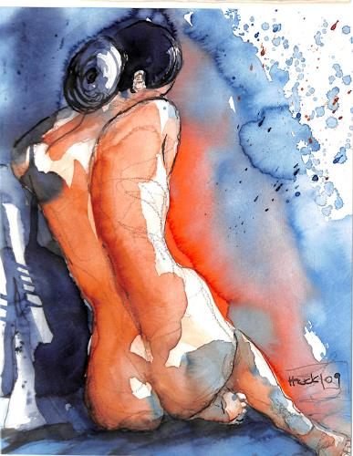 Brigitte Heck, Sitzende, Akt/Erotik: Akt Frau, Stilleben, Gegenwartskunst, Expressionismus