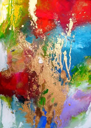 Silke Brandenstein, Sommergold, Bewegung, Fantasie, Abstrakter Expressionismus