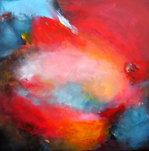 Silke Brandenstein, Roter Himmel Blaue Wolken, Natur: Luft, Glauben, Abstrakter Expressionismus, Expressionismus