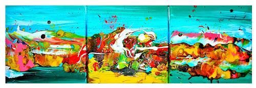Silke Brandenstein, Mini Joy Triptychon, Fantasie, Natur: Wasser, Abstrakter Expressionismus