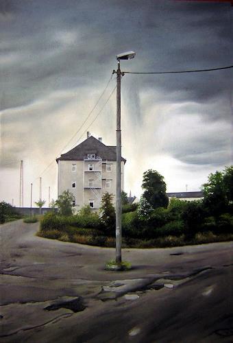 Niklas Hughes, Die alte Lackfabrik, Industrie, Realismus, Abstrakter Expressionismus