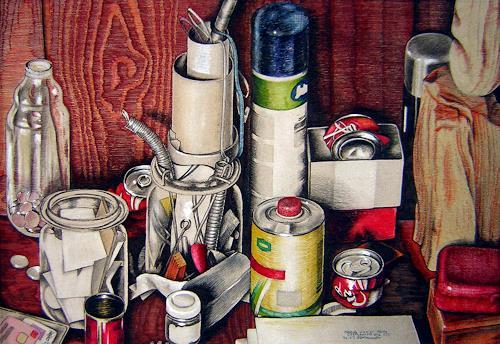 Niklas Hughes, Stillleben unter der Kommode, Industrie, Realismus