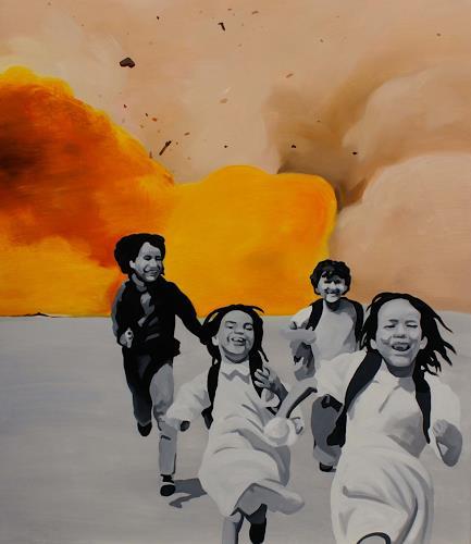 Bartosz Kolata, The stolen children, Menschen: Kinder, Krieg, Fotorealismus, Abstrakter Expressionismus