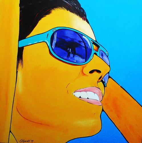 Detlev Eilhardt, Sunglasses II, Menschen: Frau, Gefühle: Freude, Op-Art, Expressionismus