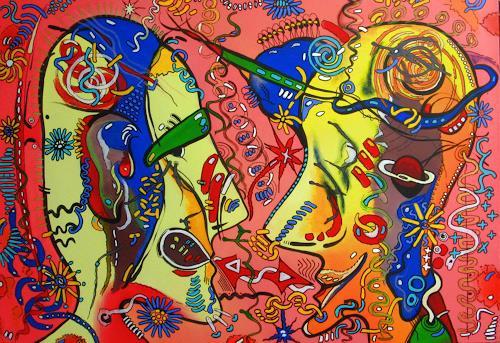 Detlev Eilhardt, Der Flirt, Menschen: Gesichter, Gefühle: Freude, Pop-Art, Abstrakter Expressionismus