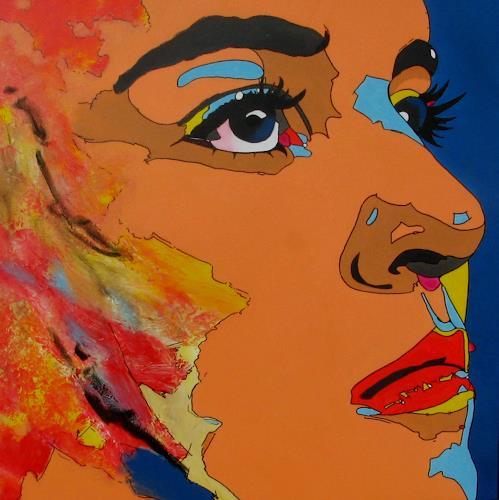 Detlev Eilhardt, Geschenkte Zeit, Menschen: Frau, Menschen: Porträt, Pop-Art, Abstrakter Expressionismus