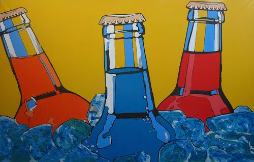 Detlev Eilhardt, BOTTLES, Dekoratives, Party/Feier, Pop-Art, Abstrakter Expressionismus
