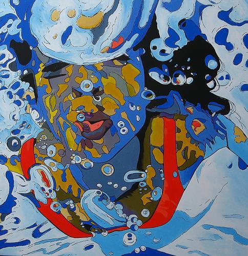 Detlev Eilhardt, Kiss the water, Menschen: Frau, Menschen: Porträt, Pop-Art, Abstrakter Expressionismus