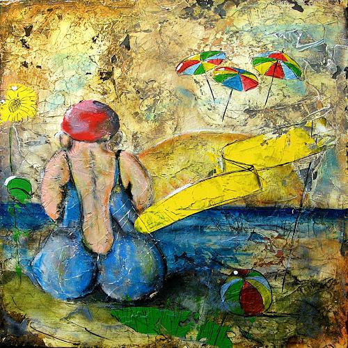 Detlev Eilhardt, Zufällig noch da, Menschen: Frau, Romantik: Sonnenaufgang, expressiver Realismus, Abstrakter Expressionismus