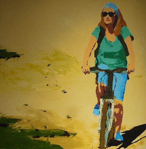 Detlev Eilhardt, Porquerolles, Menschen: Frau, Verkehr: Fahrrad, Pop-Art, Expressionismus