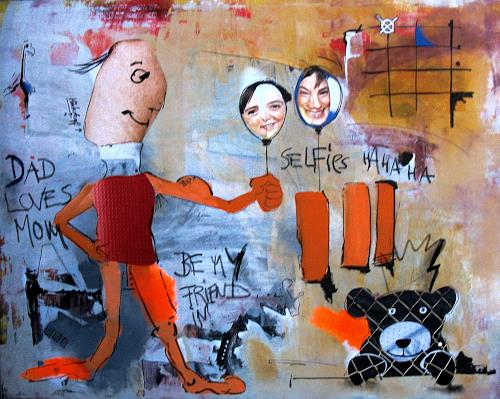 Detlev Eilhardt, DAD LOVES MOM, Diverse Menschen, Skurril, Pop-Art, Abstrakter Expressionismus