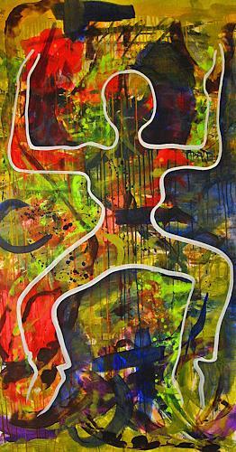 Detlev Eilhardt, JUMP, Menschen: Frau, Bewegung, Pop-Art, Abstrakter Expressionismus