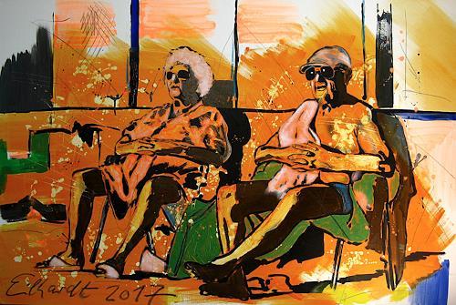 Detlev Eilhardt, SUNBATHER, Menschen: Paare, Freizeit, Pop-Art, Abstrakter Expressionismus