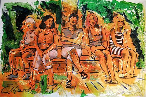 Detlev Eilhardt, THE BENCH, Menschen: Gruppe, Landschaft: Sommer, Postimpressionismus
