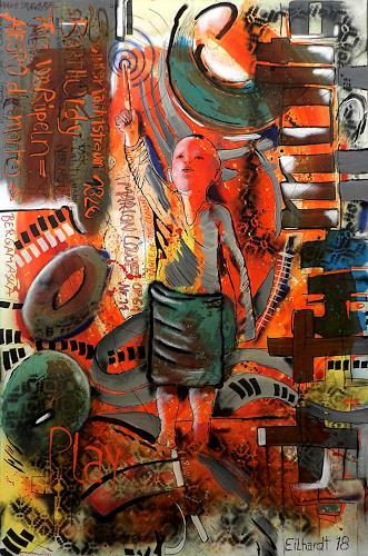 Detlev Eilhardt, Dance of the Clowns, Menschen: Kinder, Abstraktes, Neo-Expressionismus, Abstrakter Expressionismus