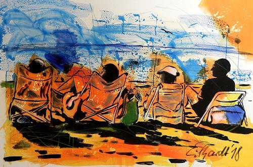 Detlev Eilhardt, at the beach, Menschen: Gruppe, Landschaft: Strand, Neo-Expressionismus
