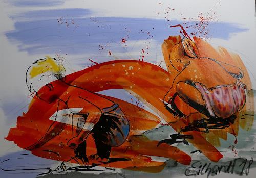 Detlev Eilhardt, sibling love, Menschen: Kinder, Landschaft: Strand, Neo-Expressionismus, Abstrakter Expressionismus