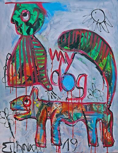 Detlev Eilhardt, Mein Hund ist eine Katze, Skurril, Humor, Neo-Expressionismus, Abstrakter Expressionismus