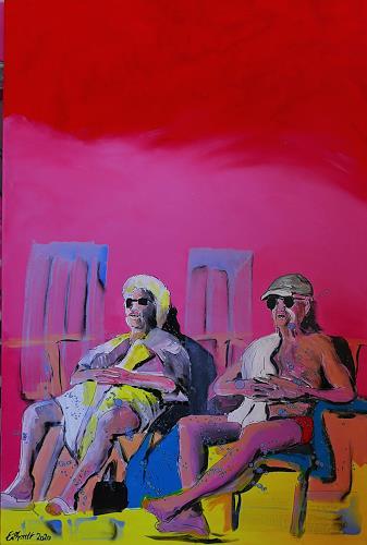 Detlev Eilhardt, sun worshipers, Menschen: Paare, Freizeit, expressiver Realismus