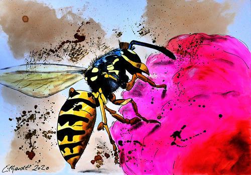 Detlev Eilhardt, Wespe, Tiere: Luft, Diverse Tiere, Pop-Art, Abstrakter Expressionismus