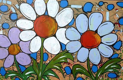 Detlev Eilhardt, Wassertropfen, Pflanzen: Blumen, Landschaft: Frühling, Pop-Art, Expressionismus