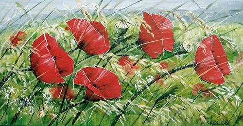 Konrad Zimmerli, Mohnblumen, Pflanzen: Blumen, Dekoratives, Abstrakte Kunst, Expressionismus