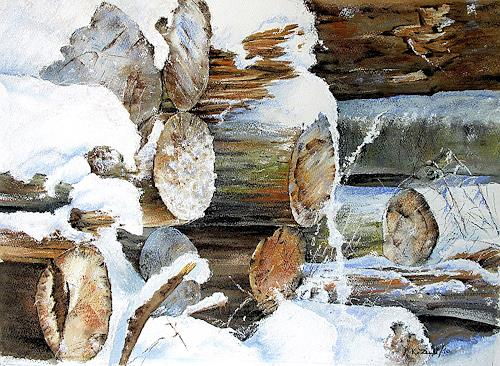 Konrad Zimmerli, Holzhaufen, Landschaft: Winter, Diverses, Abstrakte Kunst