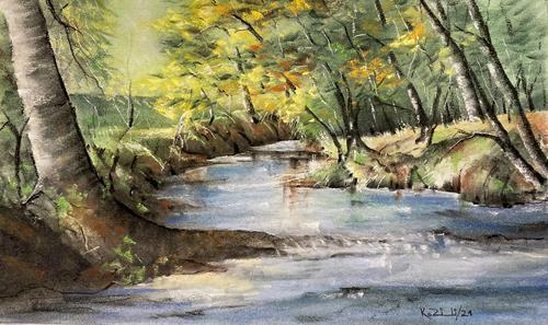 Konrad Zimmerli, Bärenmoosweiher, Landschaft: Winter, Natur: Wasser, Abstrakte Kunst, Expressionismus