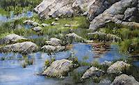 Konrad-Zimmerli-Landschaft-Sommer-Natur-Wasser-Moderne-Abstrakte-Kunst