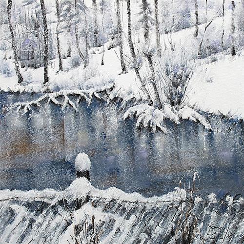 Konrad Zimmerli, Weiher, Landschaft: Winter, Natur: Wasser, Abstrakte Kunst, Expressionismus