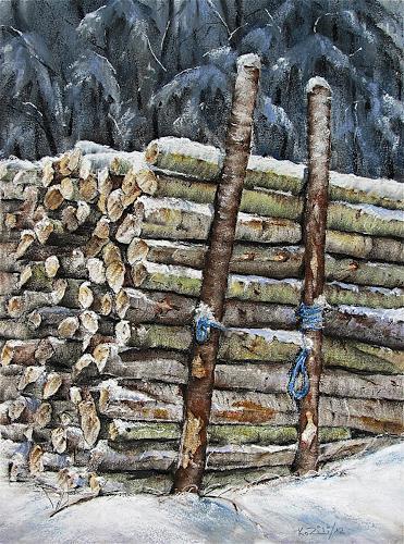 Konrad Zimmerli, Holz, Landschaft: Winter, Natur: Wald, Abstrakte Kunst, Expressionismus