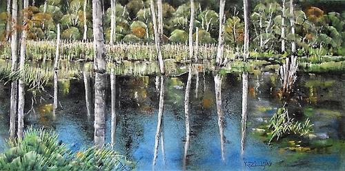 Konrad Zimmerli, Spiegelung, Landschaft: Herbst, Natur: Wasser, Naturalismus, Expressionismus