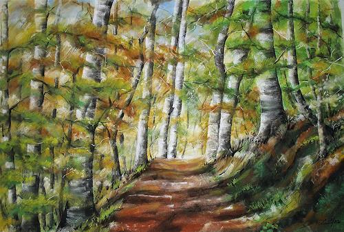 Konrad Zimmerli, Der Waldweg, Landschaft: Herbst, Natur: Wald, Abstrakte Kunst, Expressionismus