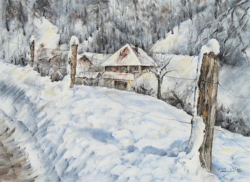 Konrad Zimmerli, In der Bachthalen, Landschaft: Winter, Natur: Wald, Impressionismus