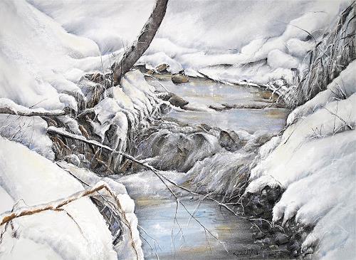 Konrad Zimmerli, Winterzauber, Landschaft: Winter, Natur: Wasser, Impressionismus, Expressionismus