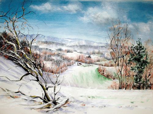 Konrad Zimmerli, Hochwacht, Landschaft: Winter, Natur: Wald, Expressionismus