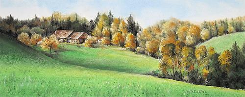 Konrad Zimmerli, Im Lehgrabe, Landschaft: Herbst, Natur: Wald, Naturalismus