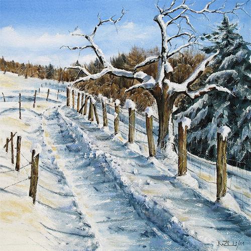 Konrad Zimmerli, Wintertag, Landschaft: Winter, Natur: Wald, Abstrakte Kunst, Expressionismus