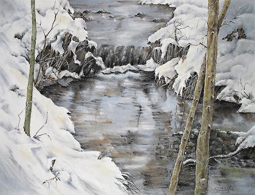 Konrad Zimmerli, Schöner Winter, Landschaft: Winter, Natur: Wasser, Abstrakte Kunst