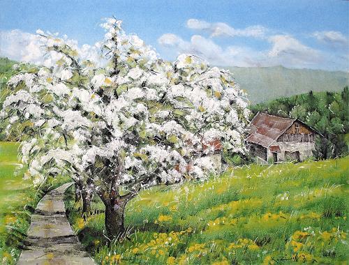 Konrad Zimmerli, Frühling, Landschaft: Frühling, Natur: Diverse, Naturalismus