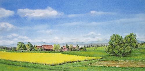 Konrad Zimmerli, Frühlingsfarben, Landschaft: Frühling, Landschaft: Ebene, Naturalismus