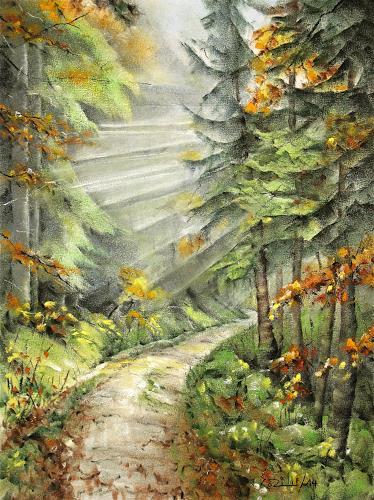 Konrad Zimmerli, Herbsstimmung, Landschaft: Herbst, Natur: Wald, Abstrakte Kunst
