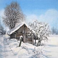 Konrad-Zimmerli-Landschaft-Winter-Bauten-Haus-Moderne-Abstrakte-Kunst