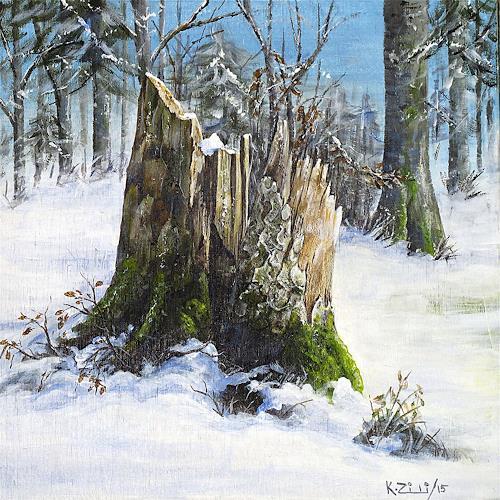 Konrad Zimmerli, Holz II, Landschaft: Winter, Natur: Wald, Naturalismus