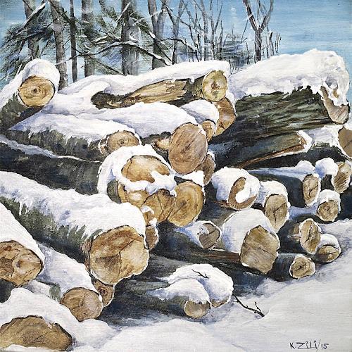 Konrad Zimmerli, Holz III, Landschaft: Winter, Natur: Wald, Naturalismus