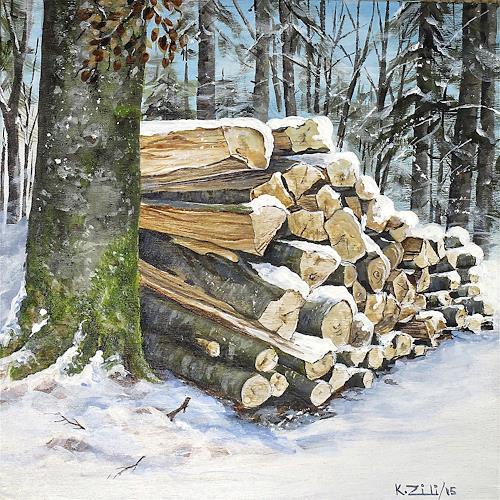 Konrad Zimmerli, Holz IV, Landschaft: Winter, Natur: Wald, Naturalismus
