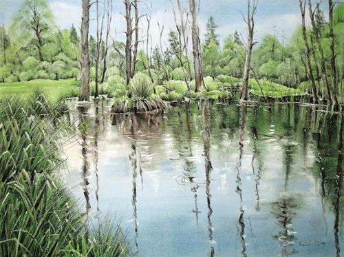 Konrad Zimmerli, Leben und Sterben, Landschaft: Frühling, Natur: Wald, Abstrakte Kunst, Expressionismus