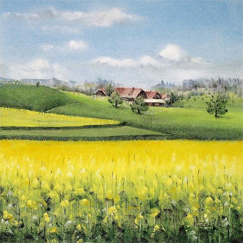 Konrad Zimmerli, Im Wauwilermoos, Landschaft: Frühling, Natur: Diverse, Abstrakte Kunst, Expressionismus
