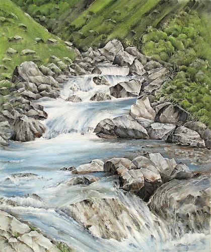 Konrad Zimmerli, Engelberger Aa, Natur: Wasser, Landschaft: Berge, Abstrakte Kunst, Expressionismus